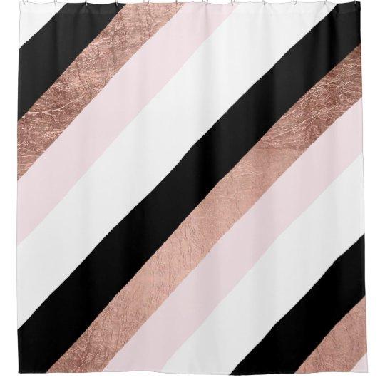 Modern Black Blush Pink Rose Gold Geometric Stripe Shower