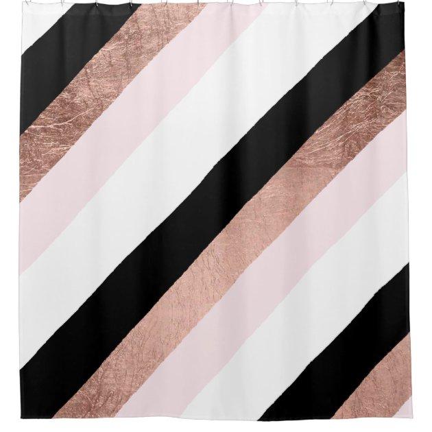 modern black blush pink rose gold geometric stripe shower curtain