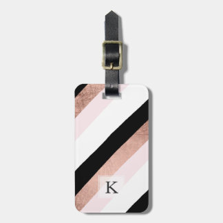 Modern black blush pink rose gold stripes pattern bag tag