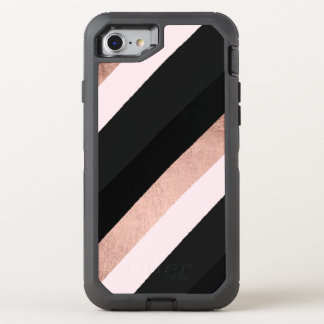 Modern black blush pink rose gold stripes pattern OtterBox defender iPhone 7 case