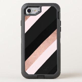 Modern black blush pink rose gold stripes pattern OtterBox defender iPhone 8/7 case