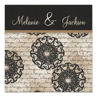Modern Black Brown Taupe Design Post Wedding 5.25x5.25 Square Paper Invitation Card