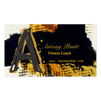 Modern Black BrushStrokes Gold Painterly Passion Business Card