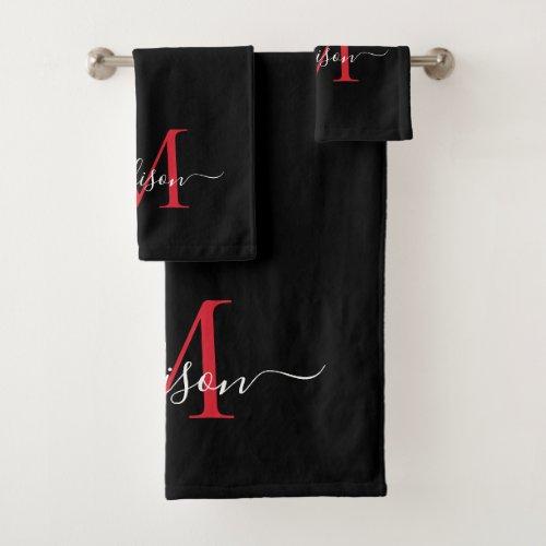 Modern Black Burgundy Red Monogram Script Name Bath Towel Set