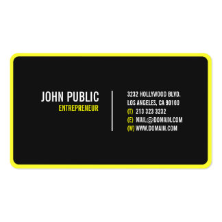 Modern Black Business Card w/Rounded Corners #12 Pack Of Standard Business Cards