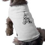Modern Black Christmas Tree Art Dog Tee Shirt