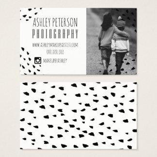 Modern black confetti polka dots photography 2 business card
