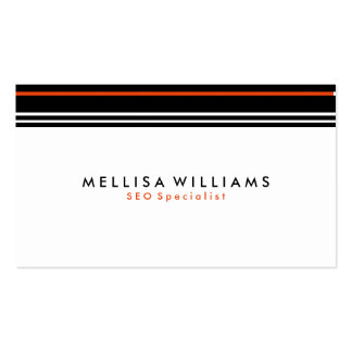 Modern Black & Coral Stripes On White Background Business Card
