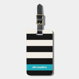Modern Black, Cream & Turquoise Stripe Luggage Tag
