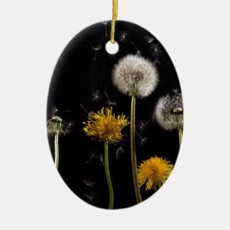 Modern Black Dandelion Ceramic Ornament