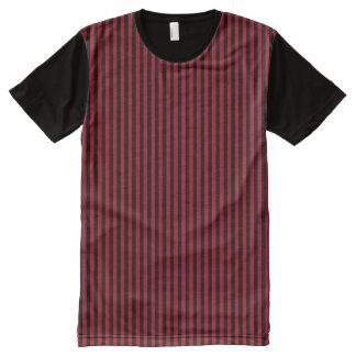 Modern Black Dark Red Geometric Vertical Stripes All-Over-Print Shirt