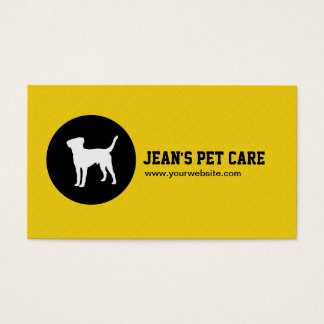 Modern Black Dot Pet Care yellow business card