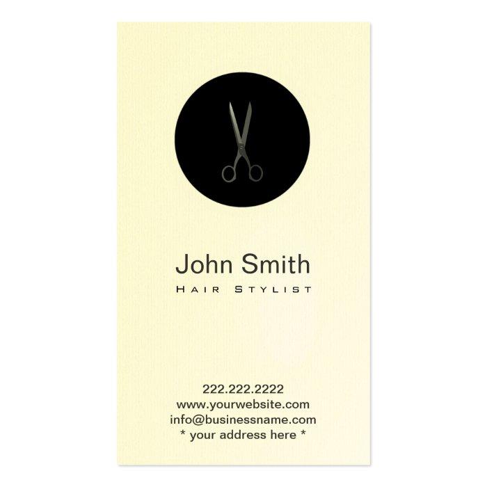 Modern Black Dot Scissor Hair Stylist Profile Card