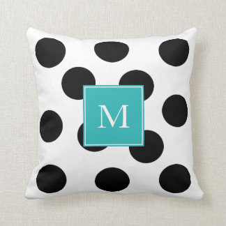 Modern black dots stripes teal monogram throw pillow