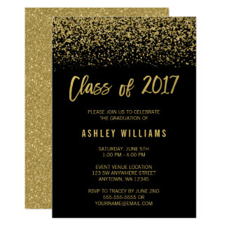 Modern Black Faux Gold Glitter 2017 Graduation Card