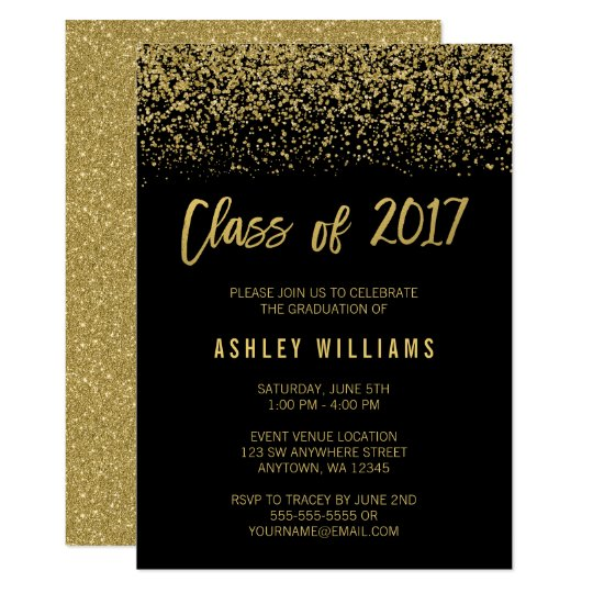 Modern black faux gold glitter 2017 graduation invitation zazzle modern black faux gold glitter 2017 graduation invitation stopboris Choice Image
