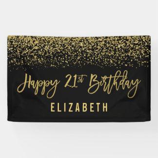 Modern Black Faux Gold Glitter 21st Birthday Banner