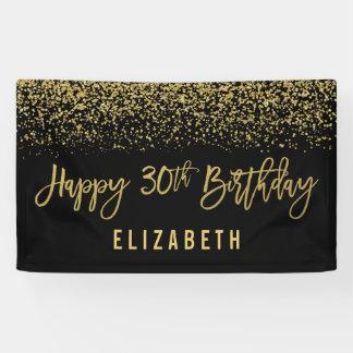 Modern Black Faux Gold Glitter 30th Birthday Banner