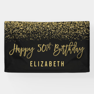 Modern Black Faux Gold Glitter 50th Birthday Banner
