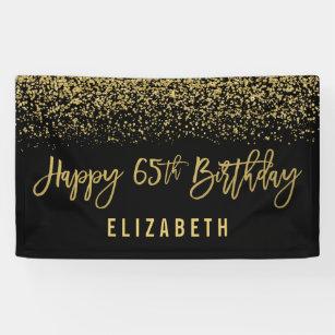Modern Black Faux Gold Glitter 65th Birthday Banner