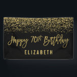 "Modern Black Faux Gold Glitter 70th Birthday Banner<br><div class=""desc"">Glamorous black and faux gold glitter 70th birthday banner. Designs are flat printed illustrations/graphics - NOT ACTUAL GOLD GLITTER.</div>"