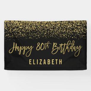 Modern Black Faux Gold Glitter 80th Birthday Banner