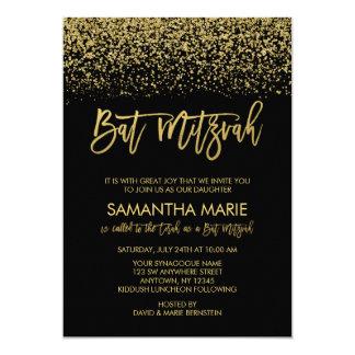 Modern Black Faux Gold Glitter Bat Mitzvah Card