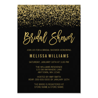 Modern Black Faux Gold Glitter Bridal Shower Card
