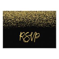 Modern Black Faux Gold Glitter RSVP Card