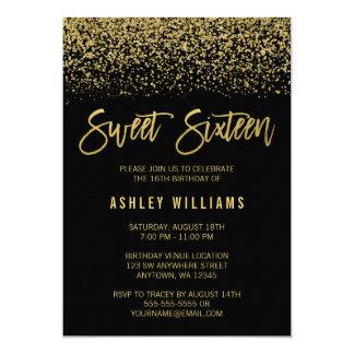 Modern Black Faux Gold Glitter Sweet 16 Birthday Card