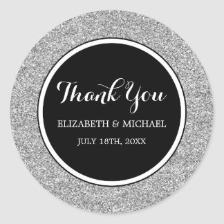 Modern Black Faux Silver Glitter Wedding Thank You Classic Round Sticker