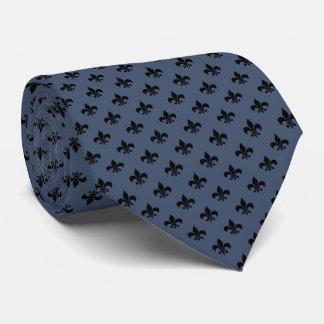 Modern Black Fleur-de-lis on Blue Jeans Blue Tie