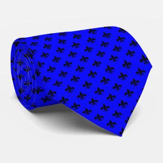 Modern Black Fleur-de-lis on Blue Tie