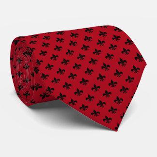 Modern Black Fleur-de-lis on Dark Red Tie