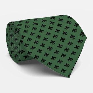 Modern Black Fleur-de-lis on Hunter Green Neck Tie