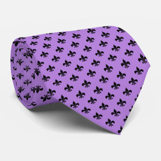 Modern Black Fleur-de-lis on Lavender Purple Tie