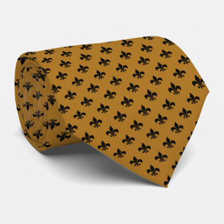 Modern Black Fleur-de-lis on Matte Gold Tie