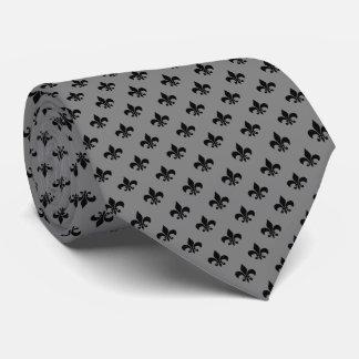 Modern Black Fleur-de-lis on Medium Gray Tie