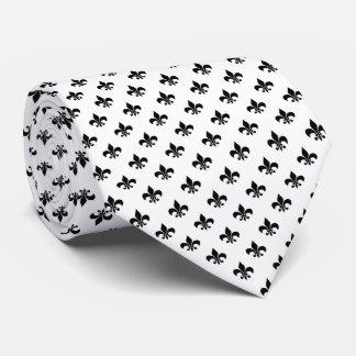 Modern Black Fleur-de-lis on White Neck Tie