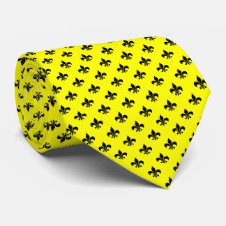 Modern Black Fleur-de-lis on Yellow Neck Tie