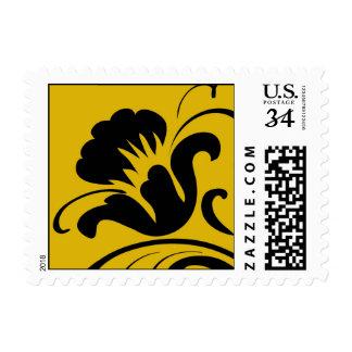 Modern Black Flower on Gold background Postage