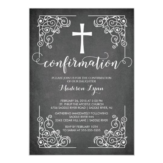 modern black frame cross confirmation invitation zazzle com