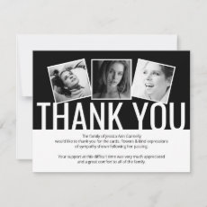 Modern Black Funeral Thank You Note