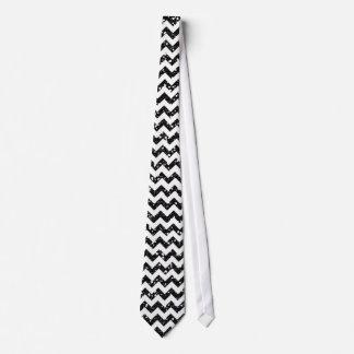 Modern Black Glitter Chevron Zig Fabric Mens Tie