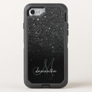 uk availability b58d5 5ccef Modern black glitter ombre block personalized OtterBox defender iPhone 8/7  case