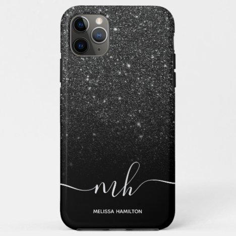 Modern black glitter ombre  elegant monogrammed iPhone 11 pro max case