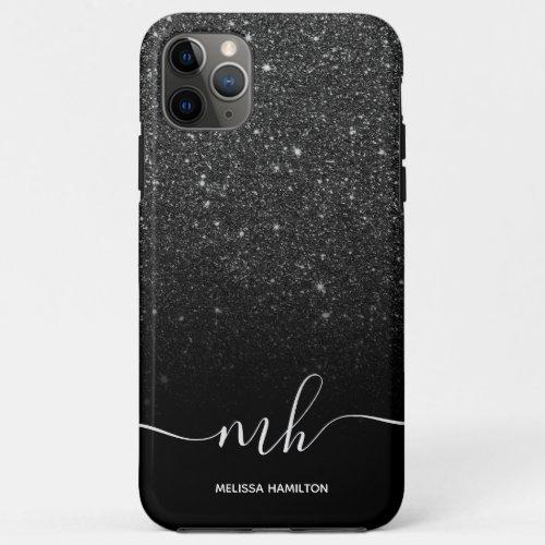 Modern black glitter ombre  elegant monogrammed Phone Case
