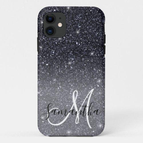 Modern Black Glitter Sparkles Personalized Name Phone Case