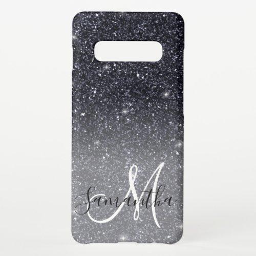 Modern Black Glitter Sparkles Personalized Name Samsung Galaxy S10 Case