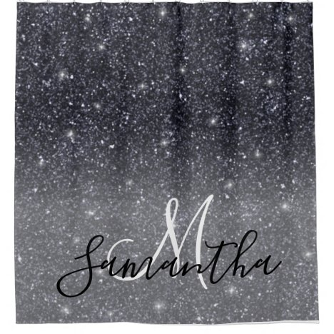 Modern Black Glitter Sparkles Personalized Name Shower Curtain